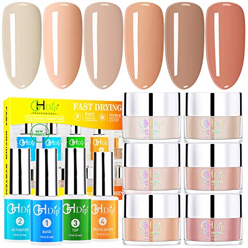Dip Powder Nail Kit Acrylic Nail Dip Powder Kit G642 (6 nude color)