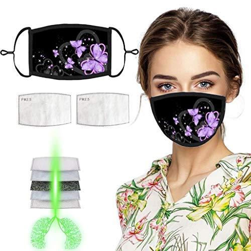 Mundschutz aus Baumwolle - Schmetterlingsdruck - Unisex Face Gesichtsschutz...