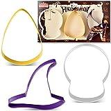 KENIAO Halloween Ausstechformen Set - 3 Stück - Schädel, Hexenhut und Süßigkeiten-Mais Fondant Keksausstecher - Farb Beschichteter Edelstahl