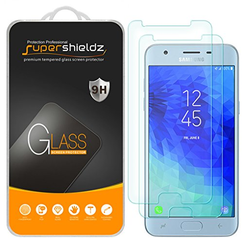 (2 Pack) Supershieldz for Samsung Galaxy J3 (2018) Tempered Glass Screen Protector, Anti Scratch, Bubble Free