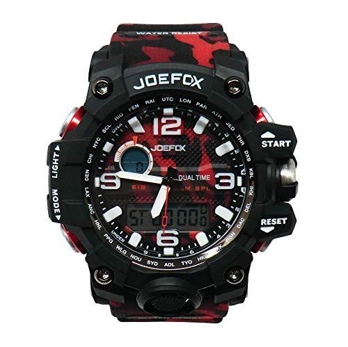 Joefox Reloj De Pulsera Digital para Hombre, Analógico Deportivo Militar, Cronógrafo Digital, Correa De Resina Led Resistente Al Agua 50 MT (Color: Rojo Militar)