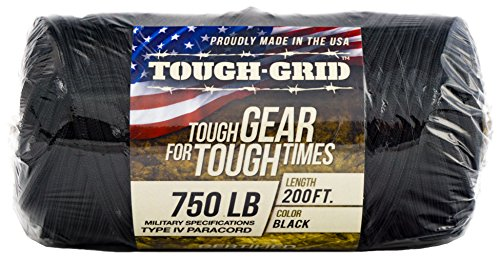 TOUGH-GRID 750lb Paracord/Parachute Cord - Genuine Mil Spec Type IV 750lb Paracord Used by The US Military (MIl-C-5040-H) - 100% Nylon - Made in The USA. 6