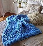 HomeModa Studio Super Chunky Knit Blanket, Merino Wool Blanket, Extrem Knitting, Chunky Blanket, Giant Super Chunky Knit Blanket (Light Blue, Bed Runner -30X50 inches)