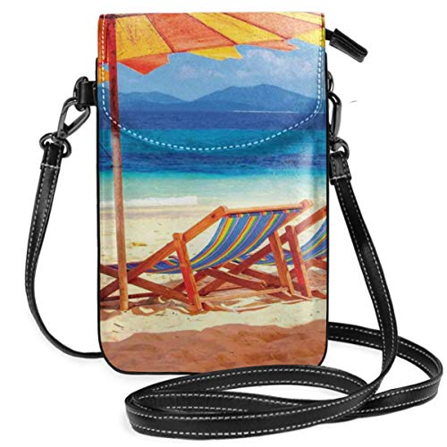 Jiger Women Small Cell Phone Purse Crossbody,Deck Chairs Overlooking Tropical Sea Of Thailand Beach Exotic Holiday Picture