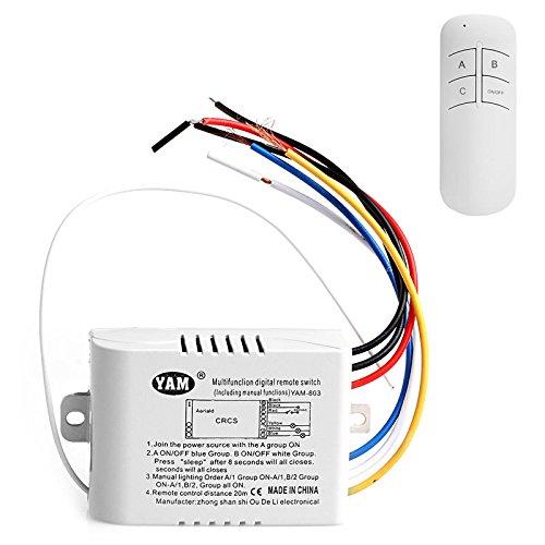 Interruptor de luces inalámbrico con 3 canales de encendido/apagado, interruptor receptor con mando a distancia