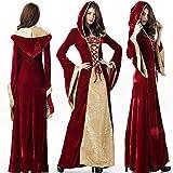 XPF Vestido Medieval Vintage para Mujer Vestido Maxi Celta De Mujer Vestido Medieval Vintage con Capucha Cuello Cuadrado Manga Trompeta Vestido Amplio Fiesta De Disfraces De Halloween S-XXXXXL,Red-XL