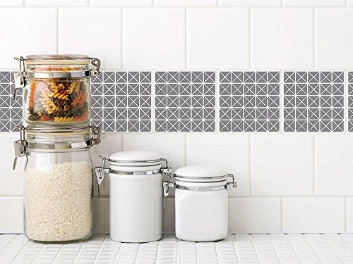 GRAZDesign 770334_15x15_FL20st Fliesenaufkleber Grau Anthrazit mit Muster für Küche und Bad | Selbstklebende Folie mit Mosaik-Optik | Küchenfliesen und Badfliesen bekleben (15x15cm // Set 20 Stück)