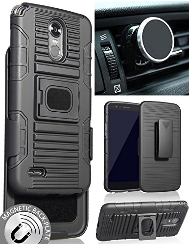 LG Stylo 3 Case/Mount/Clip, Nakedcellphone's Black Ring Grip Case Cover + Belt Clip Holster Stand + Magnetic Car Mount for LG STYLO-3, Stylus-3 (LS777/M430/MP450/MP450N/TP450)