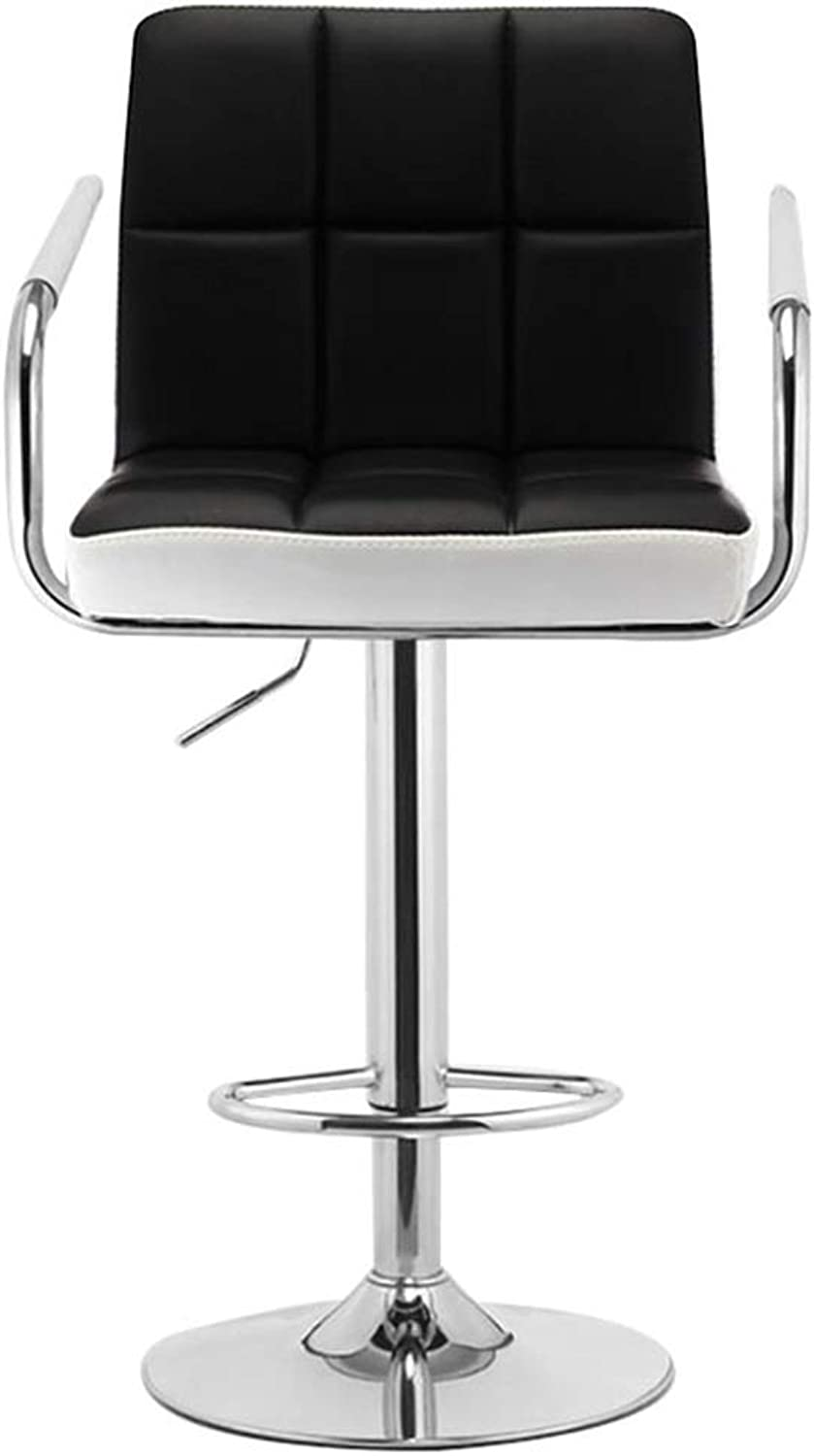 Bar Stool Footrest Dining Chair Modern Swivel Adjustable Armrest Bar Chair, PU Leather Bar Stool Kitchen   Counter   Office, Maximum Load 150kg, Black and White