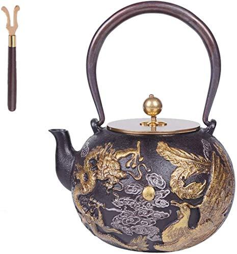 FJH 1.2L Tetera de Hierro Fundido, Patrón del hogar clásico de la Vendimia Tetera de Hierro Dragón de Hierro de la Vendimia Japonesa Pot-42 OZ-Oro