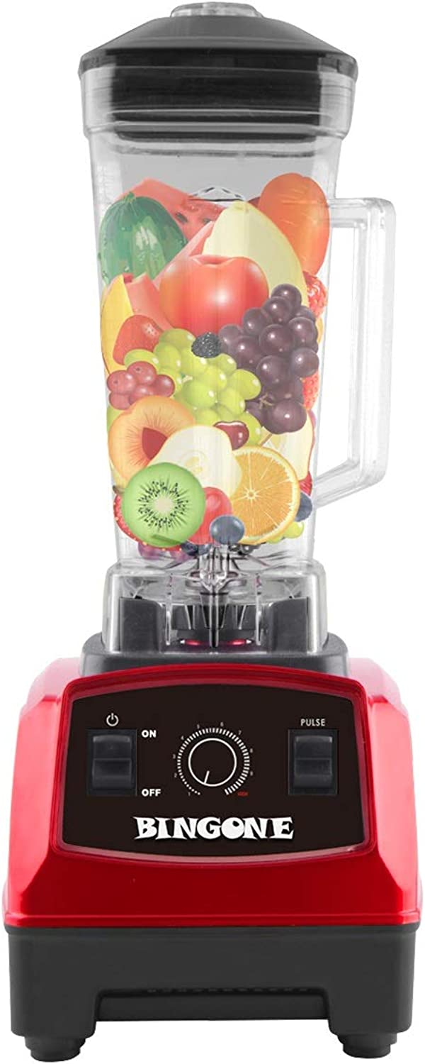 Bingone Commercial Blender,Professional Table Electric 28000 RPM High Speed Smoothie Mixer System with 2.0 Liter BPA-Free FDA Approved Tritan Jar, Nutrition Fruit Vegetable Juice Maker(Red)