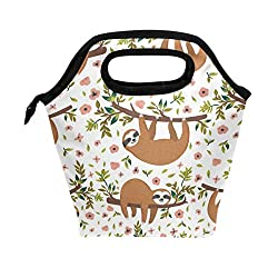 Hand Drawn Baby Sloth With Flowers Travel Bag