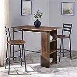 Walker Edison Furniture Company 3 Piece Drop Leaf Counter Table Dining Set with Storage, 48', Dark Walnut