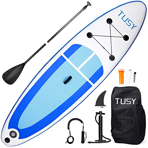 TUSY Inflatable Stand Up Paddle Board with SUP Accessories Travel Carry Bag 10', Non-Slip Deck Adjustable Paddles, Leash and Fin for Paddling Surf Boat