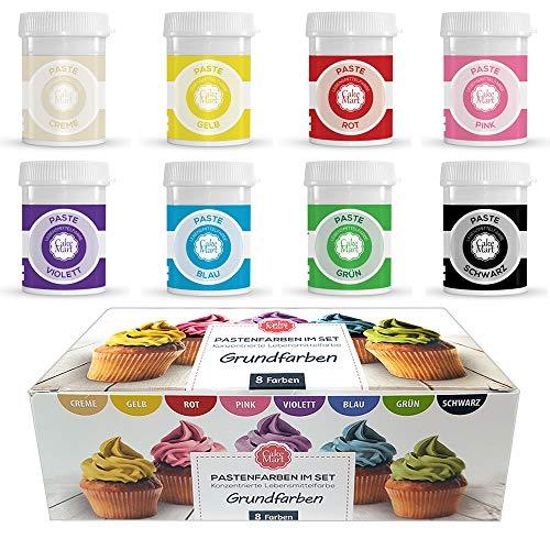 Lebensmittelfarbe Gel / Paste (8er Set) - 8 x 30 g - Hochkonzentrierte Farben-Set für Fondant, Cupcakes, Frosting (Icing Colours), Backen, Kekse, Torten, Macarons von CAKE MART
