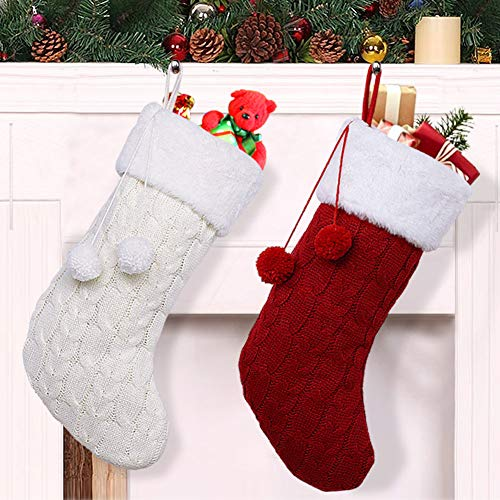 OurWarm 2pcs Knit Christmas Stockings, 18 Inch Large Rustic Cable Knit Christmas Stockings with Pom Pom for Christmas Decorations (Cream and Burgundy)