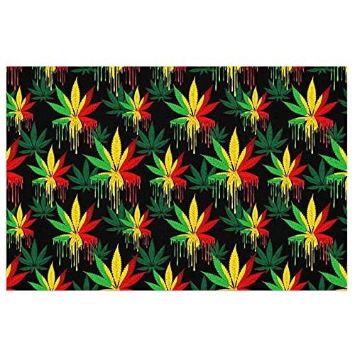 FFLSDR Felpudo Antideslizante Alfombra de Entrada Alfombra Reggae Rasta Hoja de Marihuana Weed Bienvenido PVC Entrada Patio Pad 40X60CM