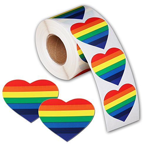 500 Love Rainbow Ribbon Stickers, Gay Pride 7 Colors Stripes Heart Shaped Roll Tape