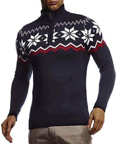 Leif Nelson Herren Strickpullover Pullover Norwegerpullover Winterpullover Norweger Muster Grobstrickpullover Männer Pulli für Weihnachten Winter SIM Fit LN20758 M Blau