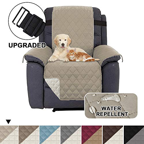 BellaHills Waterproof Recliner Chair Covers for Armchairs Recliner Covers for Leather Chair Reclining Chair Covers Protect from Pets/Dogs, Quilted with Non Slip Strap (Standard, Khaki/Beige)
