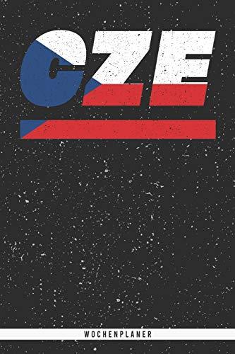 CZE: Tschechien Wochenplaner mit 106 Seiten in weiß. Organizer auch als Terminkalender, Kalender oder Planer mit der tschechischen Flagge verwendbar