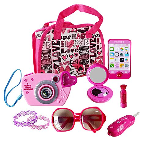 WenToyce My First Purse Pretend Role Play Beauty Set for Girls, with Storage Bag, Cell Phone, Car Key, Play Lipstick, Sun Glasses, Camera, Compact & Bracelet, 9 Pcs Educational Toy for Fun Learning