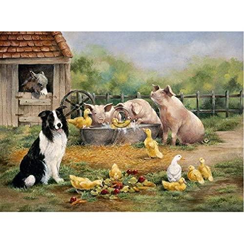 Farm Dog Pig Duck 5d Diy Diamond Broderi Animal till salu, Full Square Diamond Painting 5d Diy Mosaic Handmade Gift (Square 30X40cm)