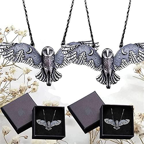 HKKY Collar con búho y luna bosque, collar de búho volador de plata, susurro de bosque, creatividad, collar retro de búho, colgante de luna creciente (2 piezas)