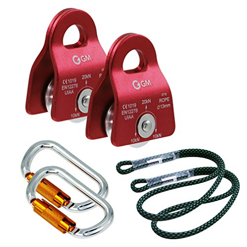 GM CLIMBING Z Rig Pulley Rope Hauling System Hardware for 2to1 or 3to1 Mechanical Advantage with Process Capture (Red with Twist Locking Carabiner)