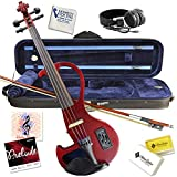 Electric Violin Bunnel Edge Outfit 4/4 Full Size Clearance (RED)- Carrying Case and Accessories Included - Headphone Jack - Highest Quality with Piezo ceramic pick-up By Kennedy Violins