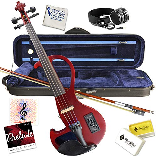 Electric Violin Bunnel Edge Outfit 4/4 Full Size (Clear) (RED)- Carrying Case and Accessories Included - Headphone Jack - Highest Quality with Piezo ceramic pick-up