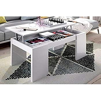 HABITMOBEL Mesa de Centro elevable Moderna Blanco Brillo (Patas Anchas): Amazon.es: Hogar