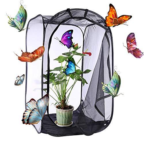 Amatop Tragbarer Schmetterlingskäfig, Faltbarer Insektenkäfig, Insekten- und Schmetterlingslebensraum Terrarium Insect Translucent Inkubator mit faltbarem Zuchtnetz mit großem Reißverschluss