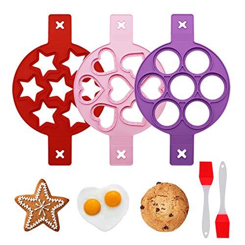 VEGCOO Stampo Pancake, 3 Pezzi Pancake Silicone Stampi con 2 Pezzi Spazzole, Riutilizzabile Antiaderente Uova Stampi Pancake, Mini Stampi di Pancake, 7 Holes Pancake Mold per Uova Fritte e Muffin