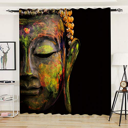 Buddha Curtains Art Curtains Huge Colorful Buddha Head Patterns, Grommet Curtains for Bedroom Living Room 84 Inches Long 3D Curtains for Adults, Black Green
