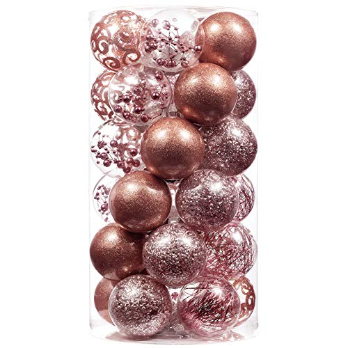 XmasExp 60mm/2.36' Christmas Ball Ornaments Shatterproof Large Clear Plastic Hanging Christmas Tree Ornaments Sets Ball Decorative with Stuffed Delicate Decorations (30CT,Rose Gold)