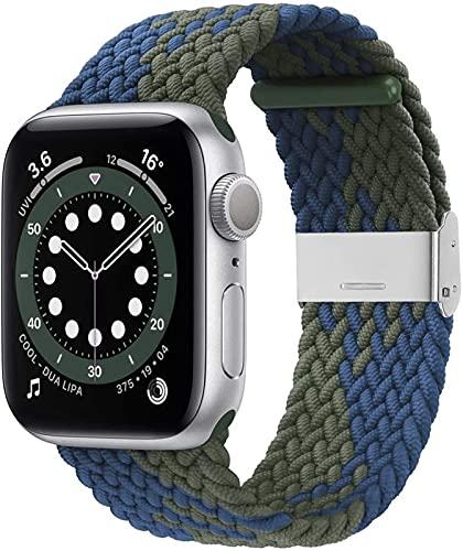 CGGA Correa trenzada para reloj Apple de 38 mm, 40 mm, 42 mm, 44 mm, suave y elástica con correa elástica ajustable compatible con iWatch Series SE 6/5/4/3/2/1, color azul y blanco