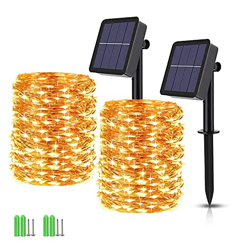 480 LED Solar Fairy String Lights, 2 Pack Total 170ft Solar Powered Fairy Lights with 8 Lighting Modes, Waterproof Outdoor String Lights For Garden, Patio, Party, Holiday Decorations (Warm White)