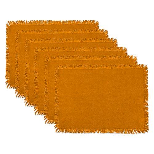 DII CAMZ37576 HVYW Fring MT S/6, Placemat, Solid Pumpkin Spice 6 Count