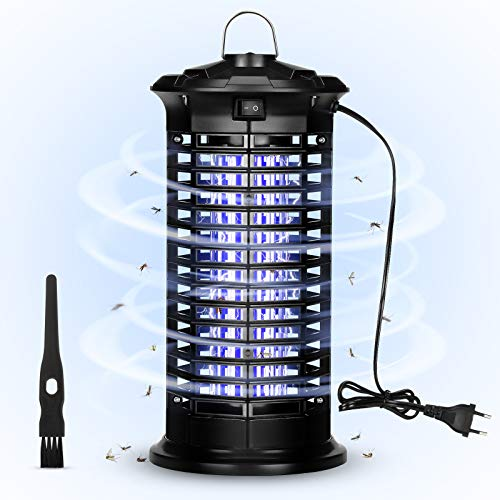 Enibon Zanzariera Elettrica, 6W Luce UV Lampada Antizanzare Elettrica, 1600V Lampada Zanzare Elettrico con Pennello Pulito per Casa Giardino Interno Esterno