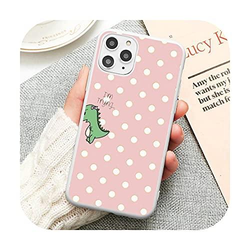 Lindo dinosaurio de dibujos animados rosa verde teléfono caso caramelo color para iPhone 6 6S 7 8 11 12 XS X SE 2020 XR Mini pro Plus MAX funda-a9-iPhoneXSMAX