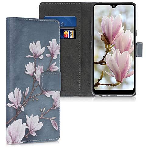 kwmobile Wallet Hülle kompatibel mit LG K50 - Hülle mit Ständer Kartenfächer Magnolien Taupe Weiß Blaugrau