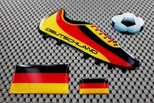 Deutschland Fußball Schuh 3D Domed Aufkleber Set