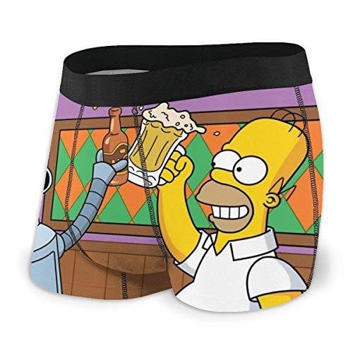 Beutel Boxer Briefs Short Trunks Simpsons Cartoon Anime Herren Unterwäsche Stretch Boxershorts für Männer Short Leg Unterhosen Atmungsaktive Bequeme Faserpackung
