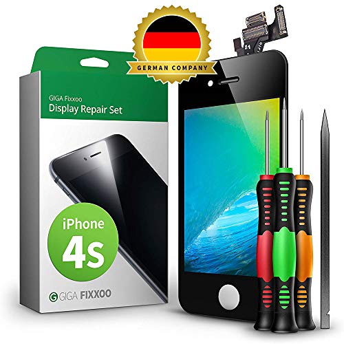 GIGA Fixxoo Display Set kompatibel mit iPhone 4s, Reparaturset Komplett Schwarz, Ersatz Bildschirm, Retina LCD Glas mit Touchscreen, inkl. integrierte Frontkamera & Werkzeug