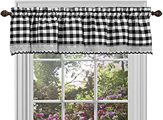 Sweet Home Collection Buffalo Check Gingham Kitchen Curtain Valance, 14