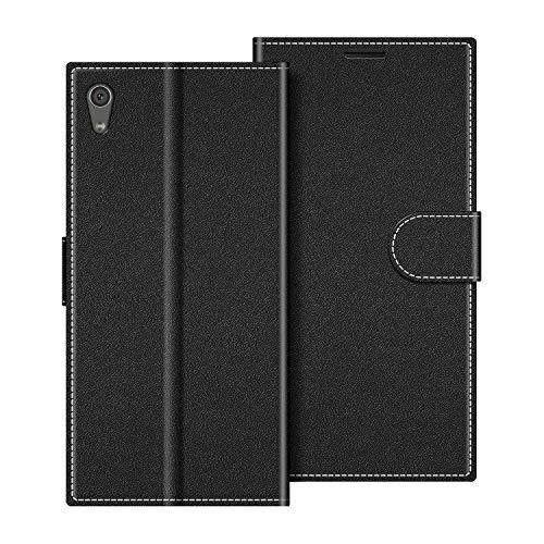 COODIO Handyhülle für Sony Xperia XA1 Handy Hülle, Sony Xperia XA1 Hülle Leder Handytasche für Sony Xperia XA1 Klapphülle Tasche, Schwarz