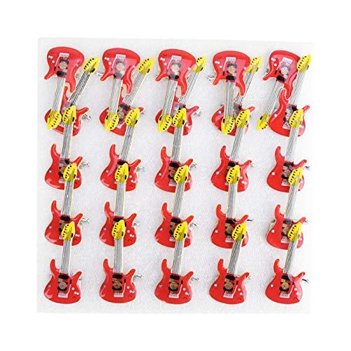 Baterías AG3, pasador de pecho de 3 estilos, insignia LED, B 25 piezas para decoración y apreciación de la colección de arte(Red guitar)