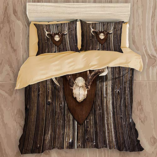 ALLMILL Bedding Bedrucktes Bettbezug-Sets,Geweih Dekor rustikale Home Cottage Cabin Wand mit Geweih Jagdhaus Country House Trophy dekorativ