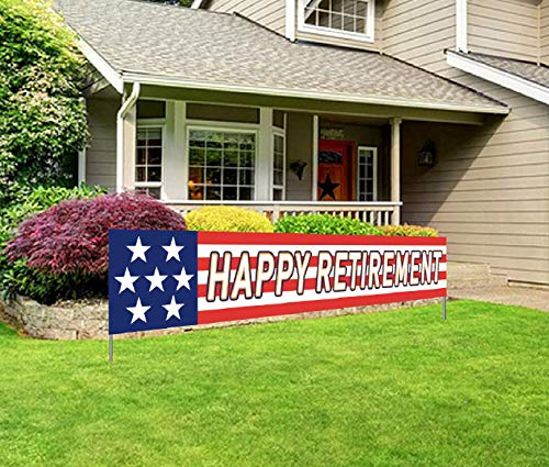 Military Retirement Banner, Army Navy Air Force Marine Corps Police Happy Retirement Party Sign
